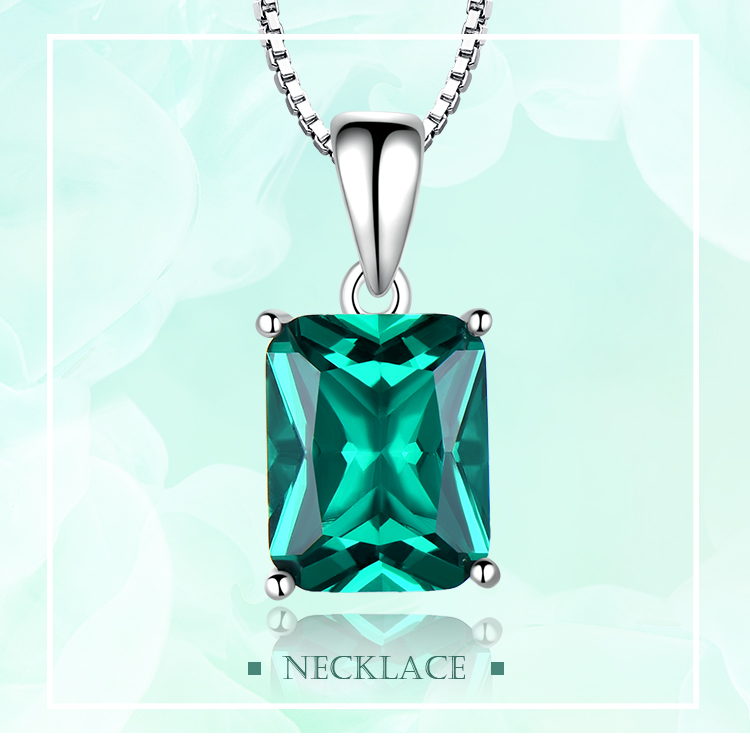 Honyy ?Emerald   925 sterling silver necklace for women NUJ056E-1-app (1)