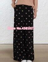 Для женщин Шелковый черный/розовый горошек неукротимая расклешенные широкие брюки с боковыми косыми карманами