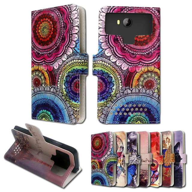 Luxury stand style printed cartoon painting flip leather case for  Jiayu G2,free gift,ZY06