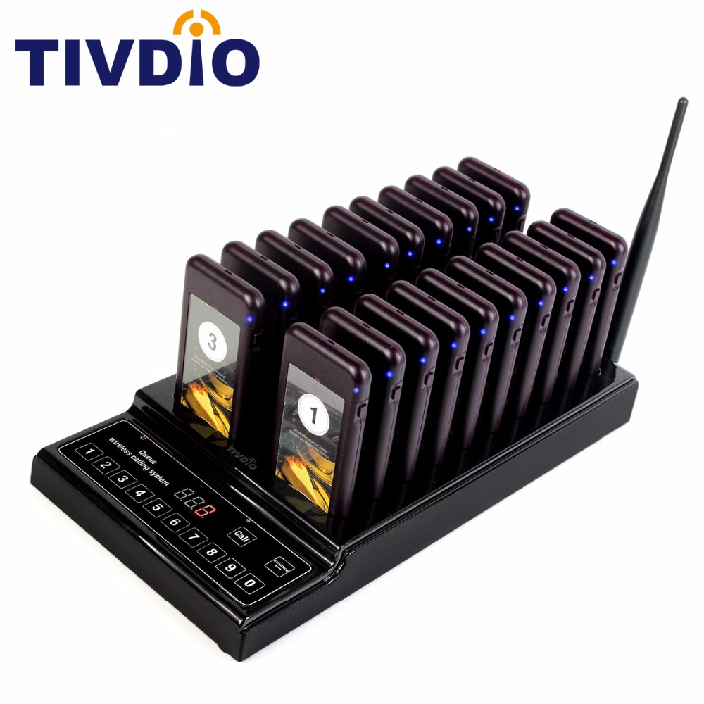 TIVDIO 20 Call Coaster Pager Restaurant Wireless Pager Queuing System Call Button Pager 999 Channel Restaurant Equipment F9402A 2 receivers 60 buzzers wireless restaurant buzzer caller table call calling button waiter pager system