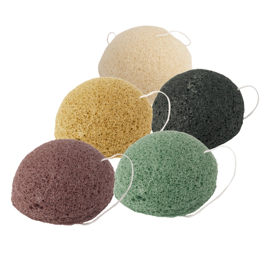 5 Colors Natural Konjac Sponge Facial Care Cleaning Washing Sponge Whitening Deeply Cleansing Pores Massage