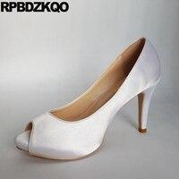 Elfenbein Großen Größe Pumpen Sommer Stiletto Super Fisch Mund Damen 11 43 White Satin Hochzeit Schuhe 12 44 High Heels Peep Toe sandalen