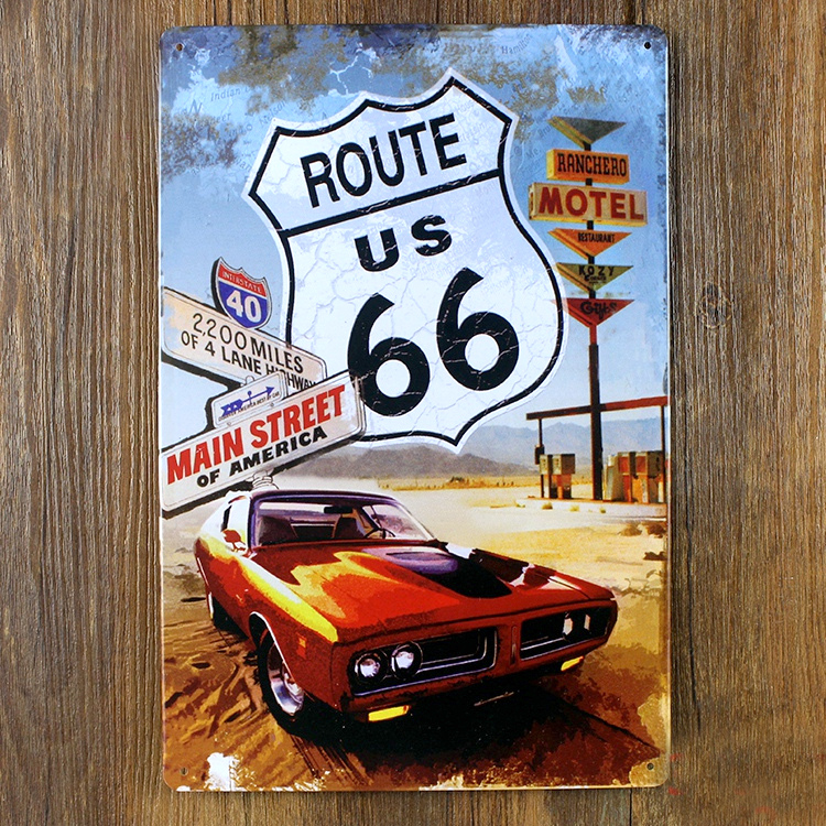 Metal Painting Route 66 Motorcycle Metal Painting Wall Art