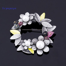 2017 New Wholesale Vintage Flower Brooches With Natural Stone Imitation Pearl Pins Brooch Pendant for Women Dress Accessories