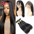 Straight Peruvian Virgin Hair 3 Bundle With Frontal 360 Lace Frontal Band With Bundles Lace Front Human Hair Wigs With Baby Hair