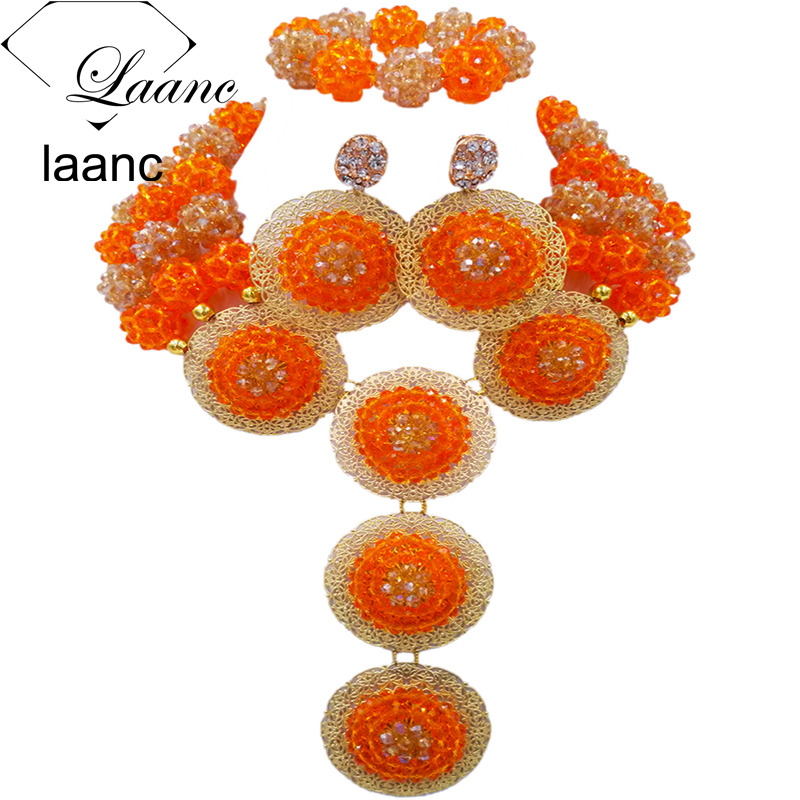 Laanc Orange and Gold AB Crystal Ball Beaded Nigerian Wedding African Beads Jewelry Set AL660Laanc Orange and Gold AB Crystal Ball Beaded Nigerian Wedding African Beads Jewelry Set AL660