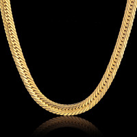 Vintage Long Gold Chain For Men Hip Hop Chain Necklace New 18k Gold Plated 8mm Curb
