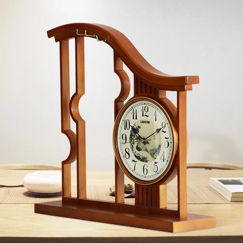 Chinese Seat Clock Large Living Room Household Solid Wood Simple Modern Atmospheric Clock Chinese Wind Decorative Silent Clock