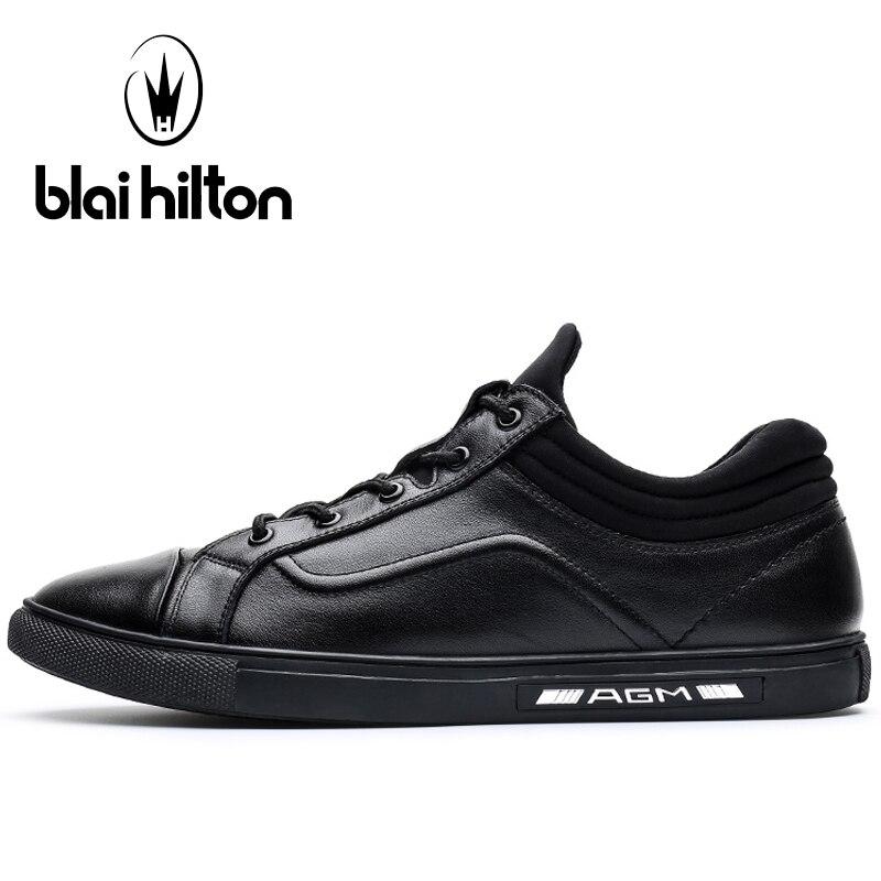 Blaibilton Black Skateboard Shoes For Men Summer Breathable Men's Sneakers Light Weight Genuine Leather Sport Shoes Man Brand