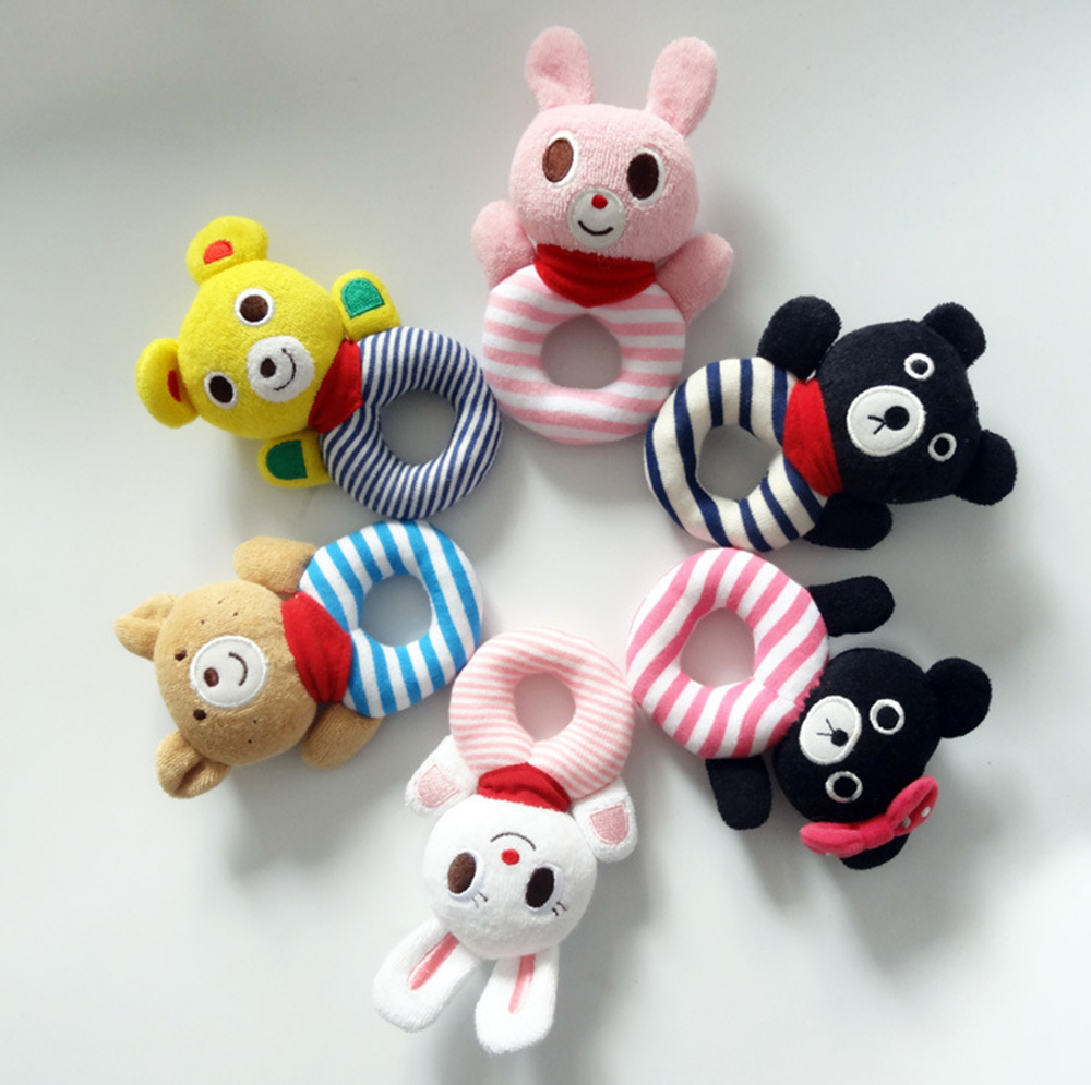 Reborn 0-12 months Baby toy animal holding hand bell bear rabbit circle hand cloth Musical Instruments kindergarten education