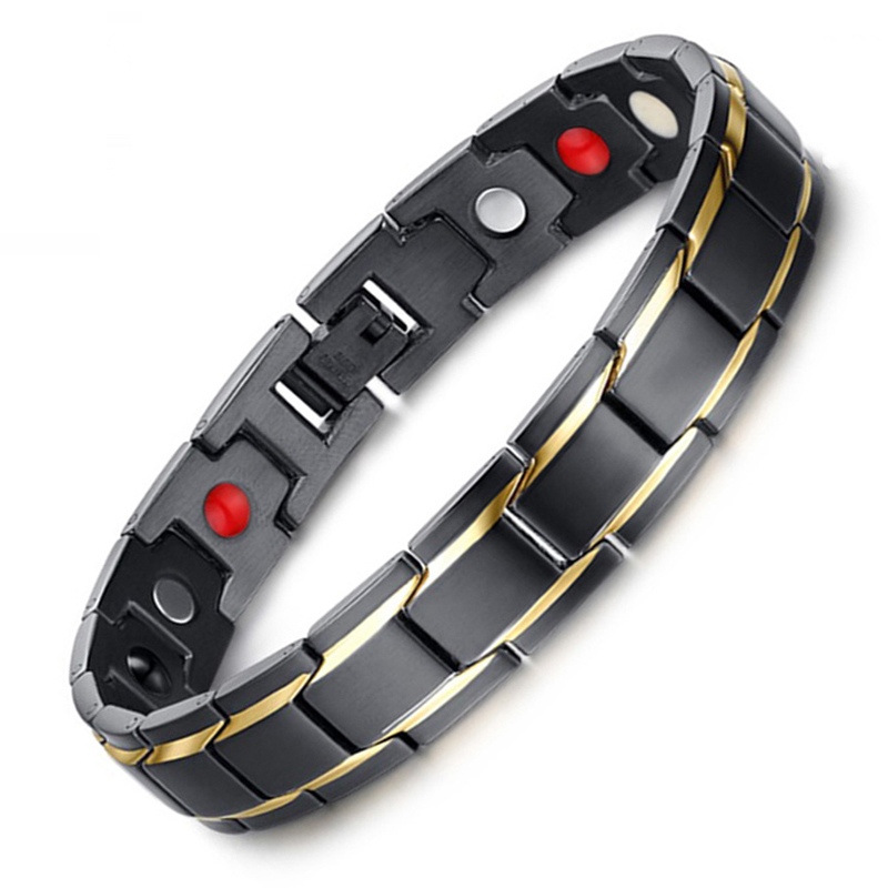 Black-Trasporto di goccia degli uomini Bracciali e Braccialetti di Salute Magnetica 316L Bracciale In Acciaio Inossidabile Fascino Gioielli per Uomo