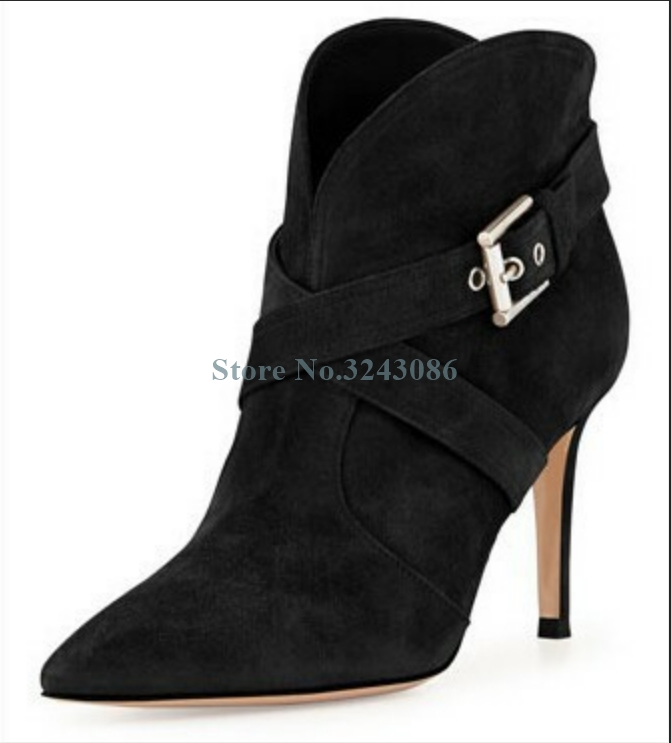 Black Apricot Faux Suede Ankle Boots Pointed Toe Buckle Strap Stiletto Heel Boots Cross Tied Short Women Boots Spring AutumnBlack Apricot Faux Suede Ankle Boots Pointed Toe Buckle Strap Stiletto Heel Boots Cross Tied Short Women Boots Spring Autumn