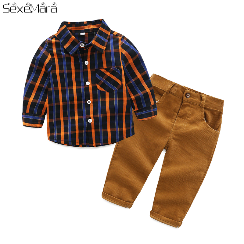 9-24 Months Baby Boy Clothes Kids Clothing Set Fashion Plaid Long-Sleeved Shirt Top+Striped Cotton Pants Children's Clothing 2PC baseus travel case tpu pc back cover for iphone 7 plus black