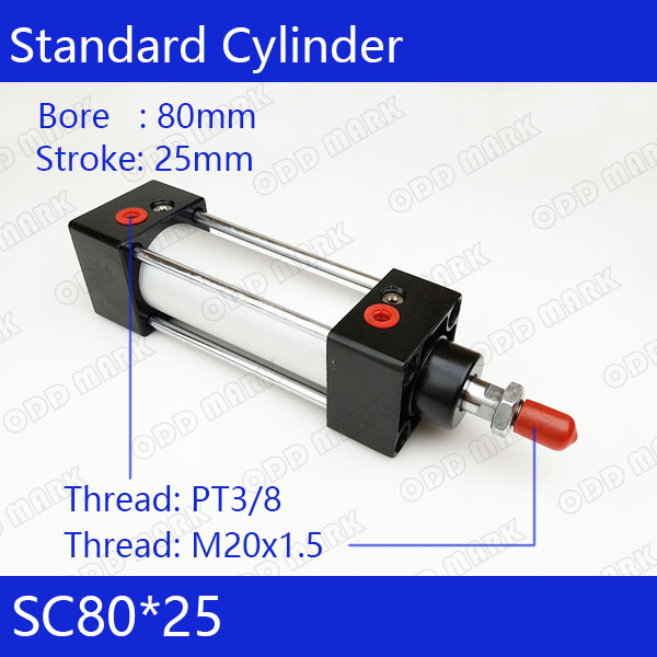 SC80*25 Free shipping Standard air cylinders valve 80mm bore 25mm stroke SC80-25 single rod double acting pneumatic cylinder cdu bore 6 32 stroke 5 50d free mount cylinder double acting single rod more types refer to form