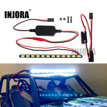 INJORA 12LED 130MM barre lumineuse en métal Super lumineux avec interrupteur pour voiture sur chenilles RC série axiale Wraith 90018 90020 90045