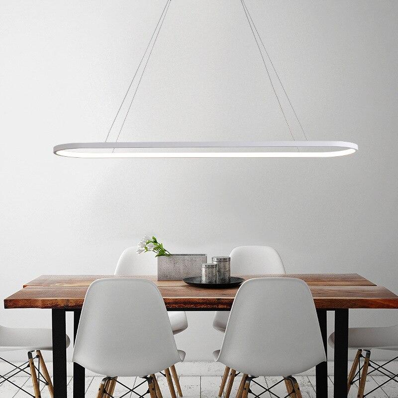 Минималистский Кухня длинные светодиодный подвесной светильник Современный овальное кольцо подвесной светильник для Обеденная офисные Р