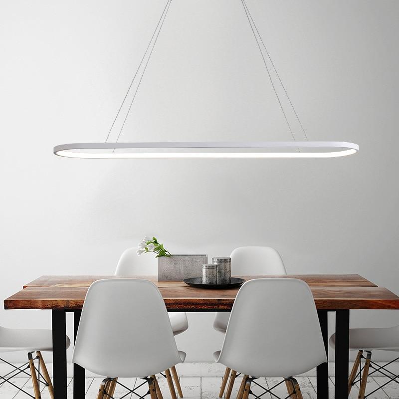 Nordic Modern Office Lighting Led Hanging Line Lamps New Pendant Light Oval Ring Lighting For Dining Room Study Table Kitchen Pendant Lights