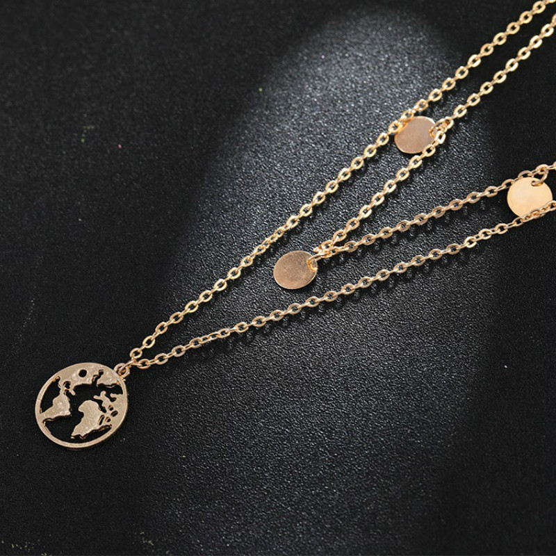 European and American jewelry white personality circle world map fashion double layer necklace jewelry wholesale in Pendant Necklaces from Jewelry Accessories