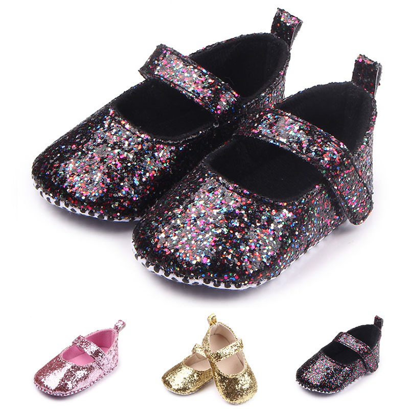 2020 New Arrival Toddler Baby Girls Shoes Sequin Infant Soft Sole First Walker Cotton Shoes Soft Bottom Girls Princess Shoes