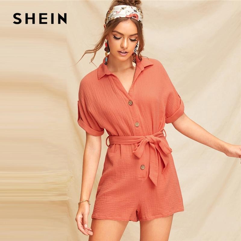 SHEIN Boho Orange Playsuit 07190116771