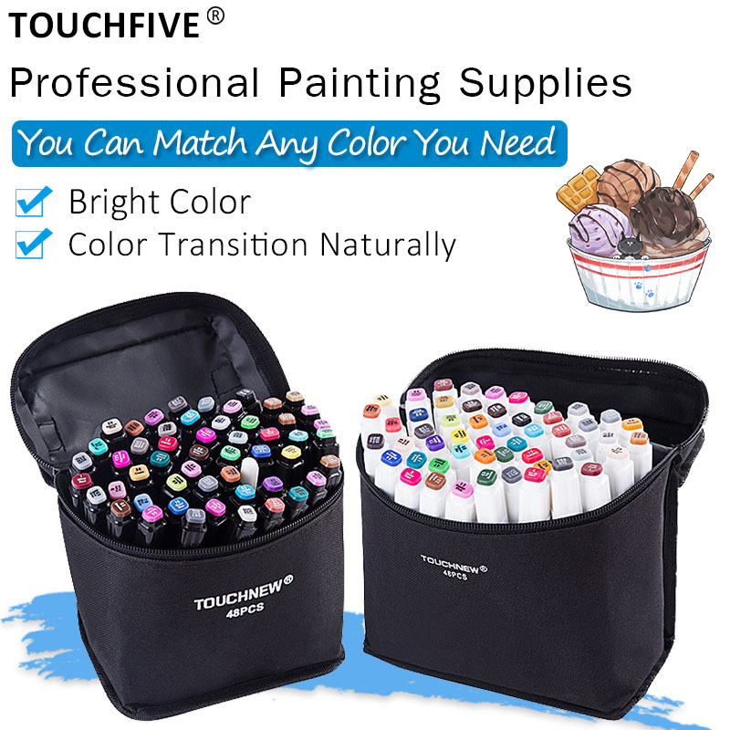 TOUCHFIVE 168 Colors Single Art Markers Brush Pen For Sketching Alcohol Based Manga Pens Drawing Markers Dual Head Art Supplies