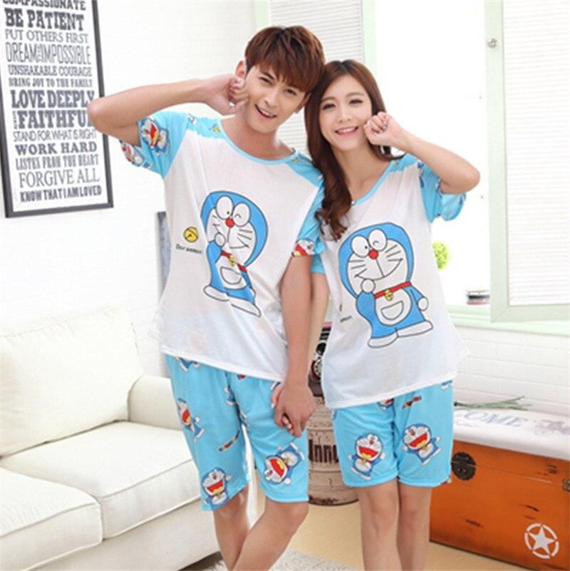 100% QualitäT Foply Neue Sommer Doraemon Cartoon-liebhaber Nette Frauen Männer Paar Kurzarm 2 StÜcke Pyjama Sets Milch Seide Casual Kleidung Nachtwäsche