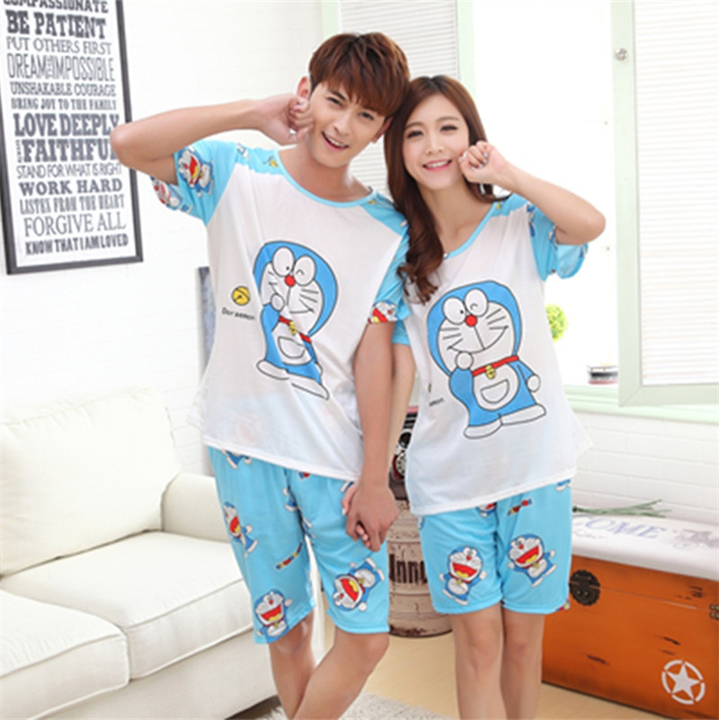 Foply New Summer Doraemon Cartoon Lovers Cute Women Men Couple Short Sleeve 2PCS Pajama Sets Milk Silk Casual Clothes Sleepwear