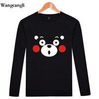 Mascote Kumamon wangcangli Roupa Nova Venda Quente Maravilhoso T-shirt Dos Homens/mulheres T-shirt com impressão com tops com mangas compridas