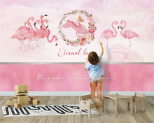 beibehang Customized modern wall paper Nordic style animal flamingo childrens room background papel de parede 3d wallpaper