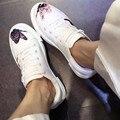 2017 Весна Обувь Белый Вышивает Узелок Туфли На Платформе Черный Печати Бабочка Повседневная Женская Обувь Zapatillas Deportivas Mujer