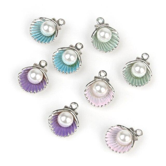 10pcs/lot Enamel Shell Alloy Charm Pendants For Women Earring Jewelry Making Fit Bracelet & Necklace DIY Jewelry Findings 6