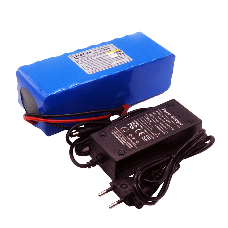 LiitoKala 36V 6ah 500W 18650 lithium battery 36V 6AH Electric bike battery with PVC case for electric bicycle 42V 2A charger