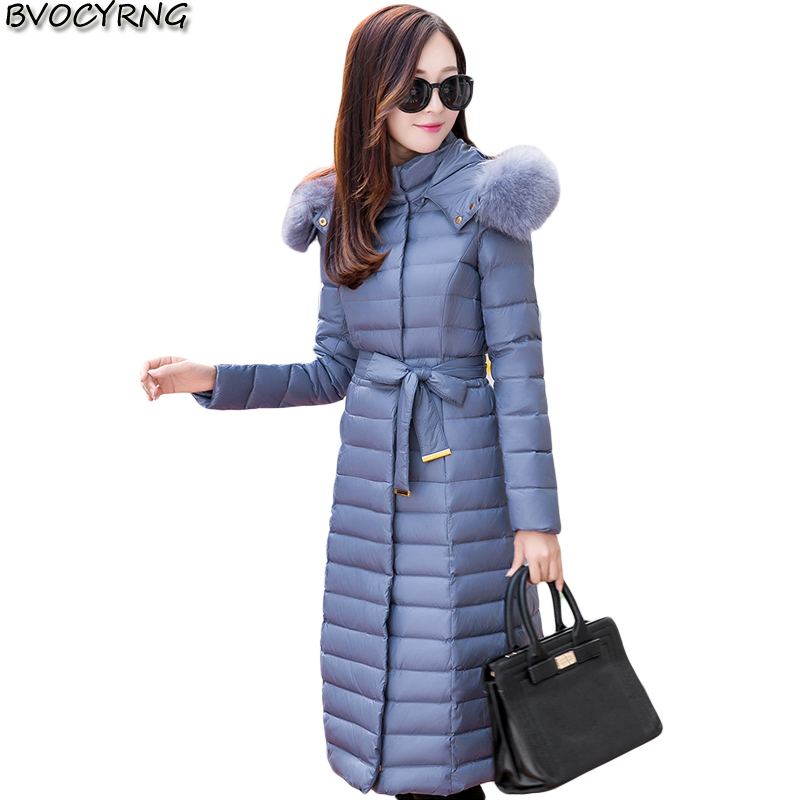 New Winter 2017Ladies coat Fox Collars And Long Thickening Over the knee Down font b Jacket