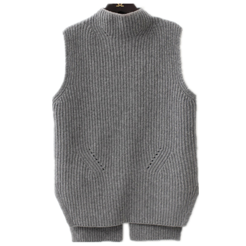 Autumn and winter high collar large size female wool vest Korean version of the sleeveless loose thick knit vest short pullover