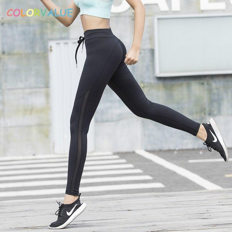 Colorvalue Quick Dry Lace-up di Yoga di Forma Fisica Delle Ghette Delle Donne A Vita Alta Flessibile Athletic Gym Leggings a Rete Laterale Jogger Collant