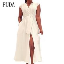 FUDA Office Ladies Long Dress Women V-neck Sleeveless Casual with Waist Belt Dress Summer High Split Elegant Dress Robe Femme elegant women s sleeveless elastic waist v neck buttoned dress