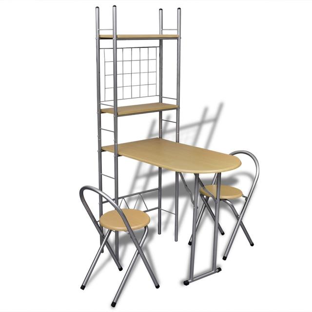 Ikayaa Faltbare Frühstück Bar Set mit 2 Stühle Küchentisch Stühle ...