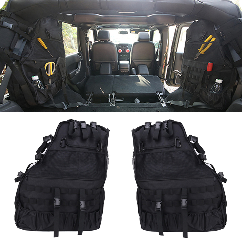 For Jeep Wrangler Storage Bags Saddlebag with Multi Pockets Car Rear Trunk Cargo Tools Organizer #CE011 car rear trunk security shield cargo cover for volkswagen vw tiguan 2016 2017 2018 high qualit black beige auto accessories