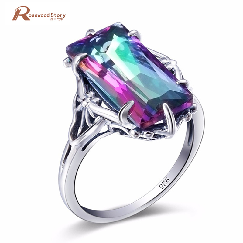 Charm Female Ring Multicolor Rainbow Fire Mystic Topaz Ring 925 Sterling Silver Vintage Wedding Rings For Women Fashion Jewelry