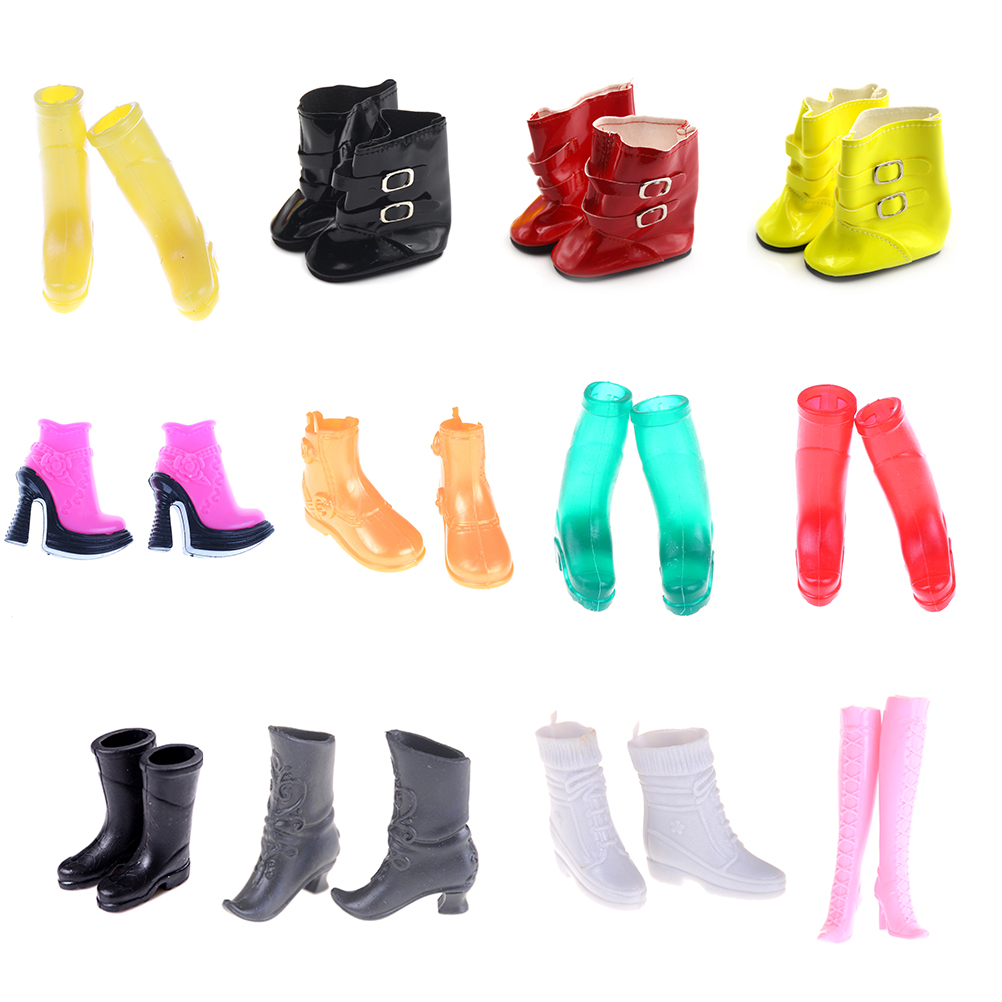 One Pair  Original Fashion Doll High Heeled Rain Boots Jackboots Shoes Accessories For 1/6  Kurhn Doll Toys For Girls