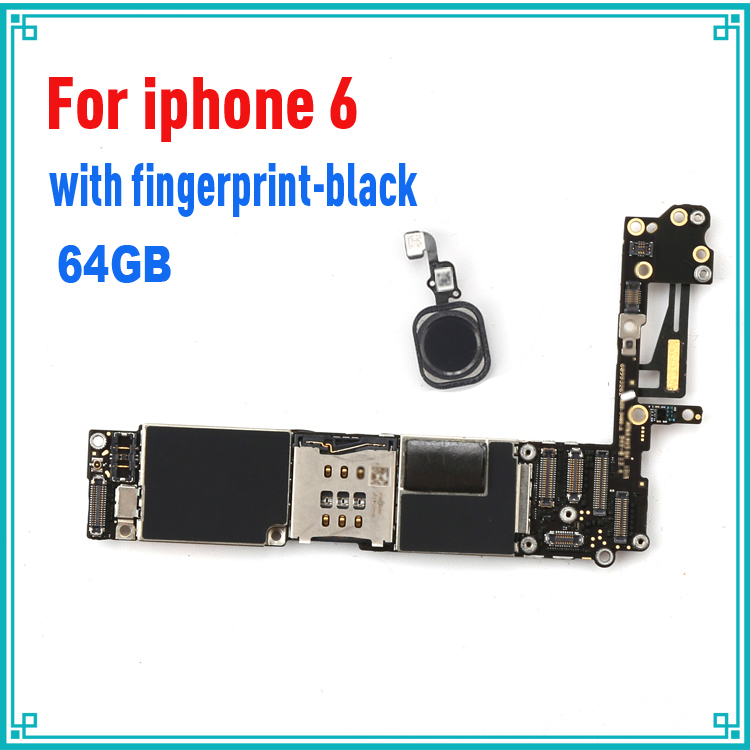 original motherboard for iphone 6 4.7inch 64GB black with fingprint Touch ID mainboard tested logic board MB Plate with IOS