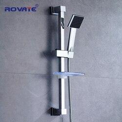 Rovate chuveiro do banheiro barra deslizante acessórios de aço inoxidável montagem na parede chuveiro cabeça deslizante titular