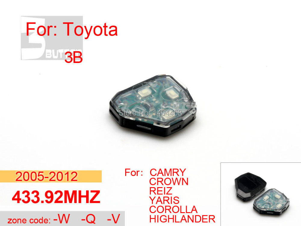 Toyota camry key replacement, car key 2005 2012 433.92MHZ 3 button W Q V for toyota crown,car alarm,free shipping