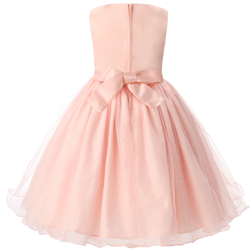 Pink Baby Girl Wedding Dress Tutu Tulle Kids Prom Gown Designs Girl