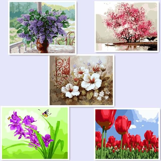 Bingkai Baru Diy Hadiah Yang Unik Vas Bunga Lukisan Minyak Pada