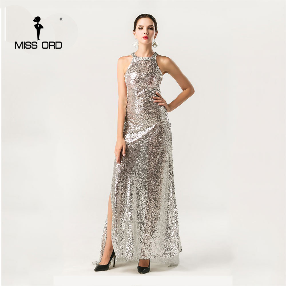 Free Shipping Missord Fashion 2018 Sexy O-neck sleeveless maxi sequin dress FT4393