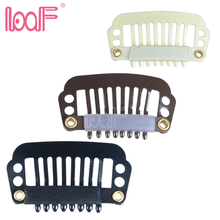 LOOF 100pcs 28mm 8teeth wigs Clips with silicone back for Hair Extensions accessories 3 colors available(China)