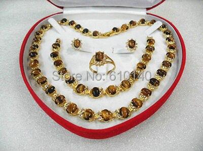 women's jewelry tiger's eye gem yellow gold Earring Bracelet Necklace Ring8