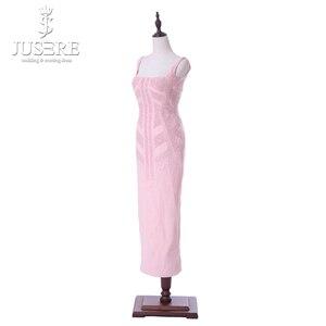 Image 4 - Vestido Casual corto de mujer de corte especial con tiras rosadas cuello cuadrado longitud de té abierto espalda baja cuentas patrón vestidos de graduación 2018