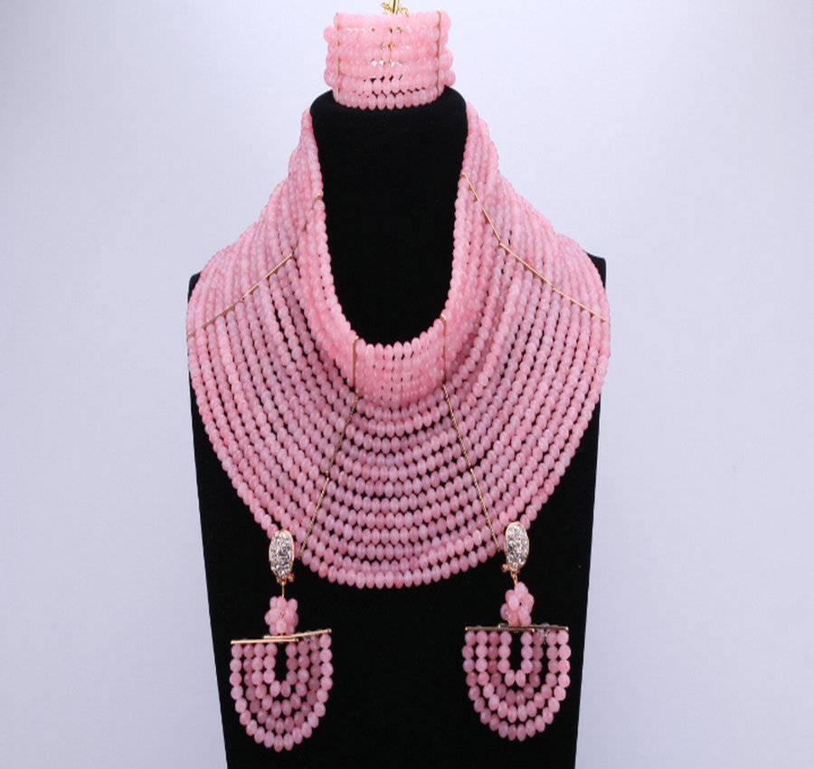 Latest White Deep Pink African Beads Bridal Jewelry Sets For Wedding Nigerian Beads Necklace  Earrings Bracelet 18 LayersLatest White Deep Pink African Beads Bridal Jewelry Sets For Wedding Nigerian Beads Necklace  Earrings Bracelet 18 Layers